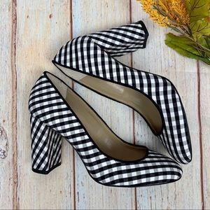 Ann Taylor NWOB Black White Gingham Emeline Heels